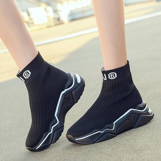 casual star with a socks shoes women's high-top shoes
