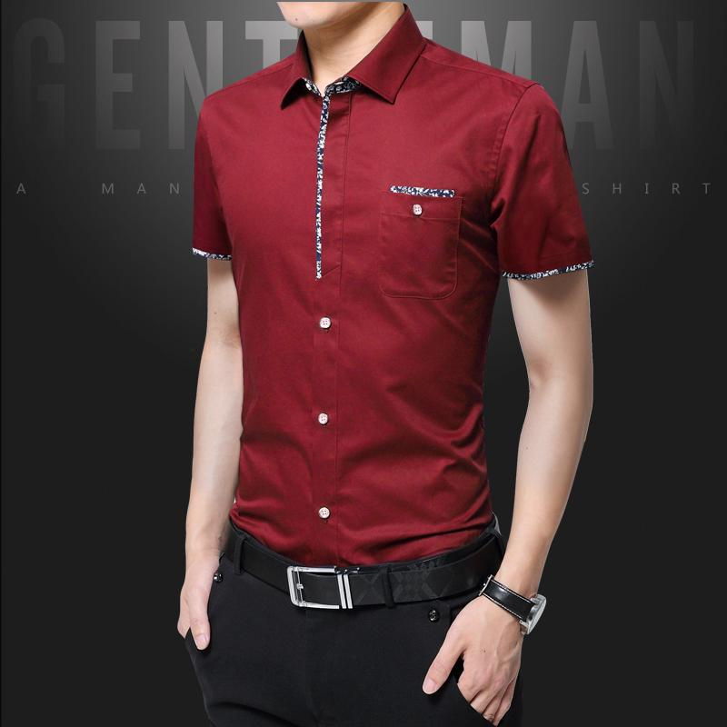casual shirt solid color pattern slim fit gentleman summer man teens business Clothes pocket bajumurah leisure in stock