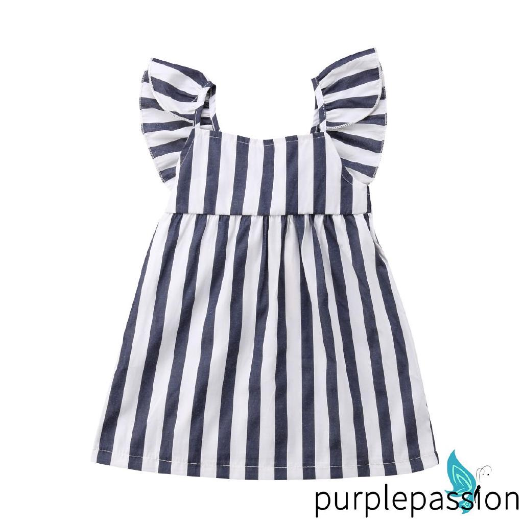 UNS-2018 Cute Blue-Grey Toddler Girl Princess Dress Stripe Clothes