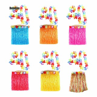 5Pcs Adult Hula Show Grass Skirt Garland Wristband Hawaiian Party Dress Decor