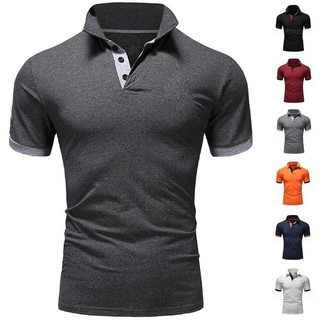 2019Ready Stock Mens Short Sleeve Slim T-Shirt Men's Fashion Solid Polo Shirt