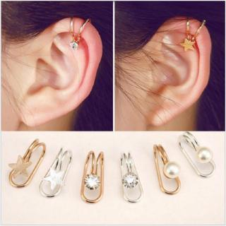 Korean version of the cute single diamond star earrings ear clips without earrings earrings ear bone
