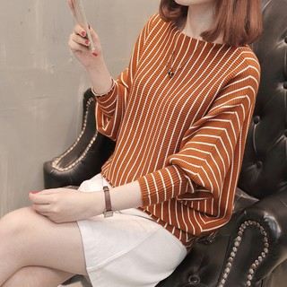 Women Knitted Slim Casual O-Neck Stripe Long Sleeve Tops Blouse Sweater Baju