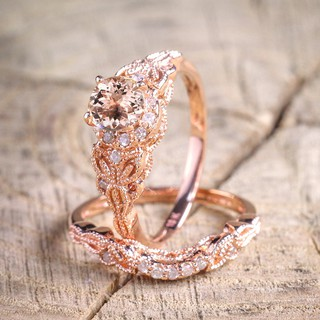 2Pcs/Set Rose Gold Rhinestone Ring Jewelry Accessories