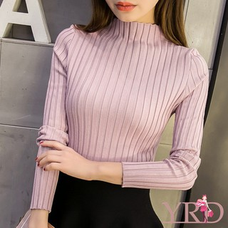 Autumn Winter Women's Turtleneck Long Sleeve Slim Knitted Pullover