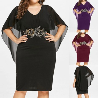 PLUS SIZE Fashion Women Casual Chiffon Solid V-Neck Applique Loose Dress
