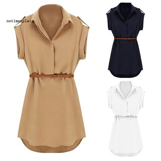 NAME Summer Lady Solid Color Turn Down Collar Short Sleeve Shirt Mini Dress with Belt