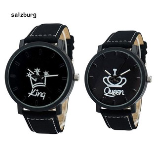 HotCouple Queen King Crown Fuax Leather Quartz Analog Wrist Watch Valentine Gift