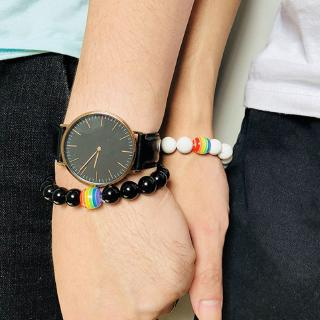 Black White Stone Beads Rainbow Bracelet Natural Lava Howlite For Women Men Couple Best Friend Bangles