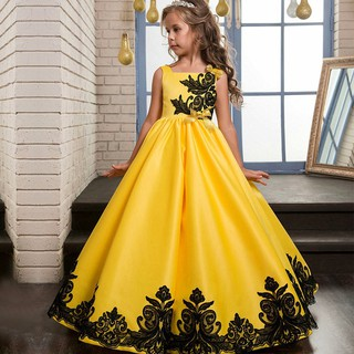 girl yellow Long Satin cloths sling embroidered dress adult princess lace dress