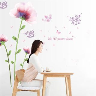 Plant Flower Romantic Pink Bloom Flower Home Decoration Wall Sticker