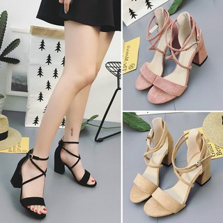 Women open toe chunky high heels shoes strappy kasut