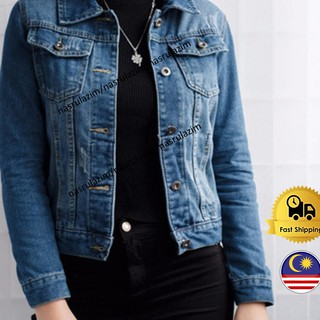 READY STOCK MY Women Denim Jackets Long Sleeve Jacket Woman Denim Coat
