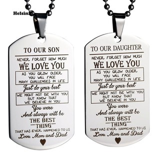 HEL_Son Daughter Letter Tag Pendant Necklace Key Ring Keychain Dad Mom Jewelry Gift