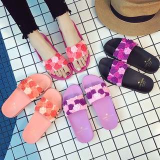 Female flowers slippers summer indoor anti-skid bathroom shower soft bottom han edition household cool plastic