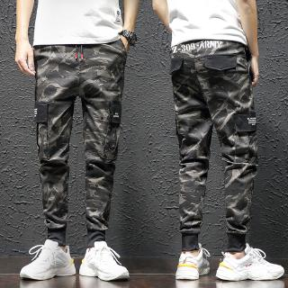 Ready Stock Jeans Men Camouflage Pants Printing Nine Pants Side Pocket Casual