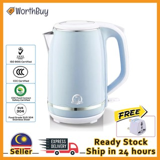 Worthbuy 1.8L Double Layer Safe Touch Electric Kettle Water Heater