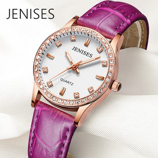 Jenises authentic women's fashion watch trend quartz waterproof luminous student simple leather watch