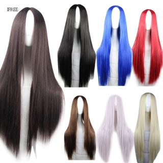 Women Long Straight Hair Wig Hairstyles Heat Resistant Synthetic Anime Cosplay Wigs Props