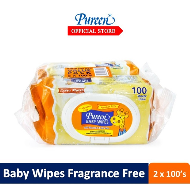 Pureen Baby Wipes Fragrance Free (100's x 2)