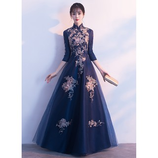 S~3XL Navy Blue Long Sleeve Muslim Floral Cheongsams Wedding Dinner Prom Dress#8