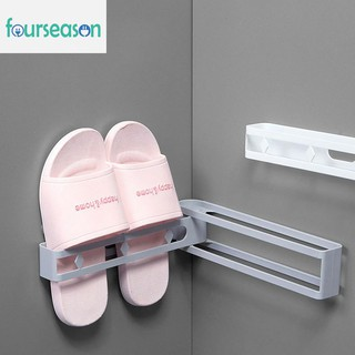 fourseason Space-saving Wall-mounted Slipper Shoes Rack No-punch Bathroom Shower Shelf