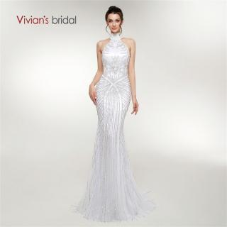 Vivian's Bridal Halter Crystal Beading Stripe Pattern Women Evening Dress Back Hollow Out Zipper Sweep Train