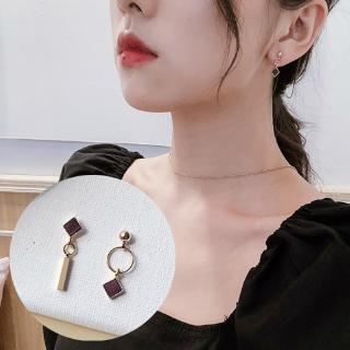 Korean Design Geometric Square Asymmetric Circle Earrings