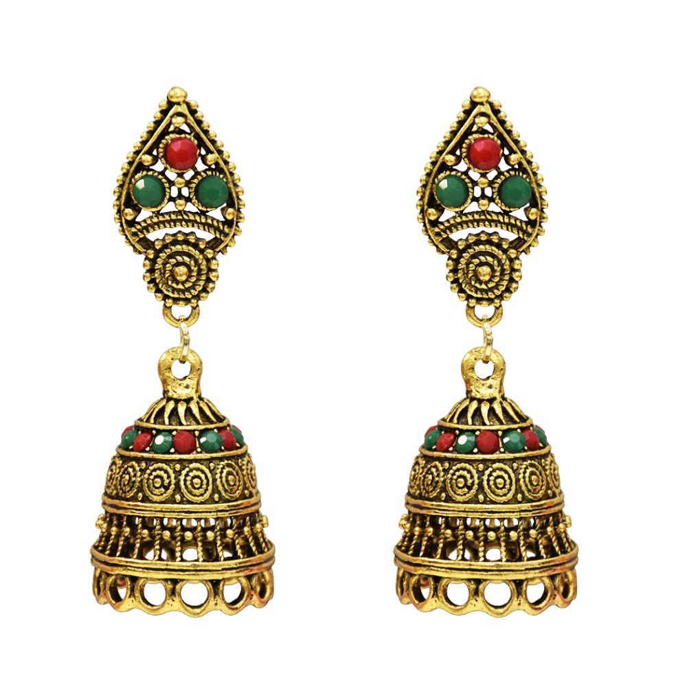 Tribal Unique Classic India Jhumka Birdcage Drop Earrings For Women Afghan Flower Crystal Dangle Egypt Turkey Jewelry