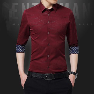 Shirt Male Long Sleeve Men Shirt No Pocket Casual Embroidery Formal Business Man Shirt Slim Fit Designer Dress