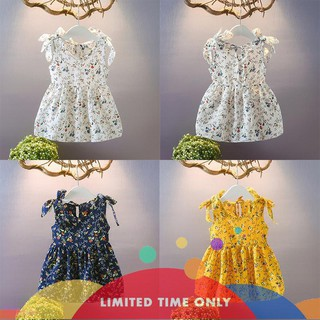 【Crazy sales】Summer Casual Baby Girls Floral Strap Dress New Cotton Sleeveless Pageant Dress