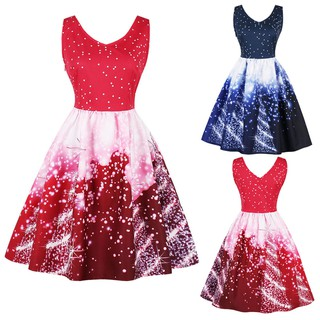 Plus Size Womens Santa Christmas Party Dress Vintage Xmas Swing Skater Dress
