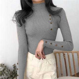 Fashion Solid Color Half-neck Sweater Bottoming Shirt Female Button Long-sleeved Sweater Slim Tide