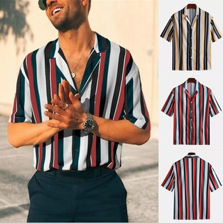 wanna🔹Men  Summer Fashion Shirt Casual Striped Shirt Short-Sleeve   Blouse