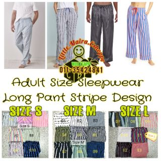 Seluar Tidur Dewasa Big Cutting Sleepwear Stripe Design Long Pant Corak Belang Garis Lurus Cotton Sleep Pant Men Women