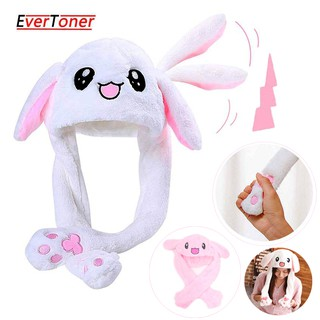 Funny Plush Moving Rabbit Ears Hat Girls Animals Ear Moving Jumping Hats Warm Plush Rabbit Winter Caps Funny Hats