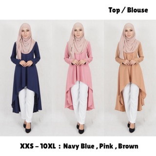 XXS - 10XL | DINDA FISHTAIL TUNIC BLOUSE . MUSLIMAH CASUAL PLUSSIZE BRIDESMAID WORKWEAR OFFICE CIKGU HR