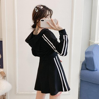 Big yards dress 2019 new fall fat younger sister sports leisure suit skirt with shoulder-straps coat two-piece
