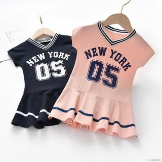 My Baby  Baby Girls Short Sleeve Letters Number Print Pageant Dresses