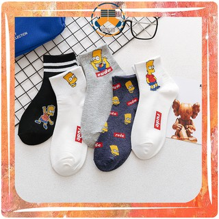 【Lowest Price】Ready Stock! Cute Simpson Women Men Cotton Short Socks Fashion Korea Harajuku Street Funny Ankle Socks