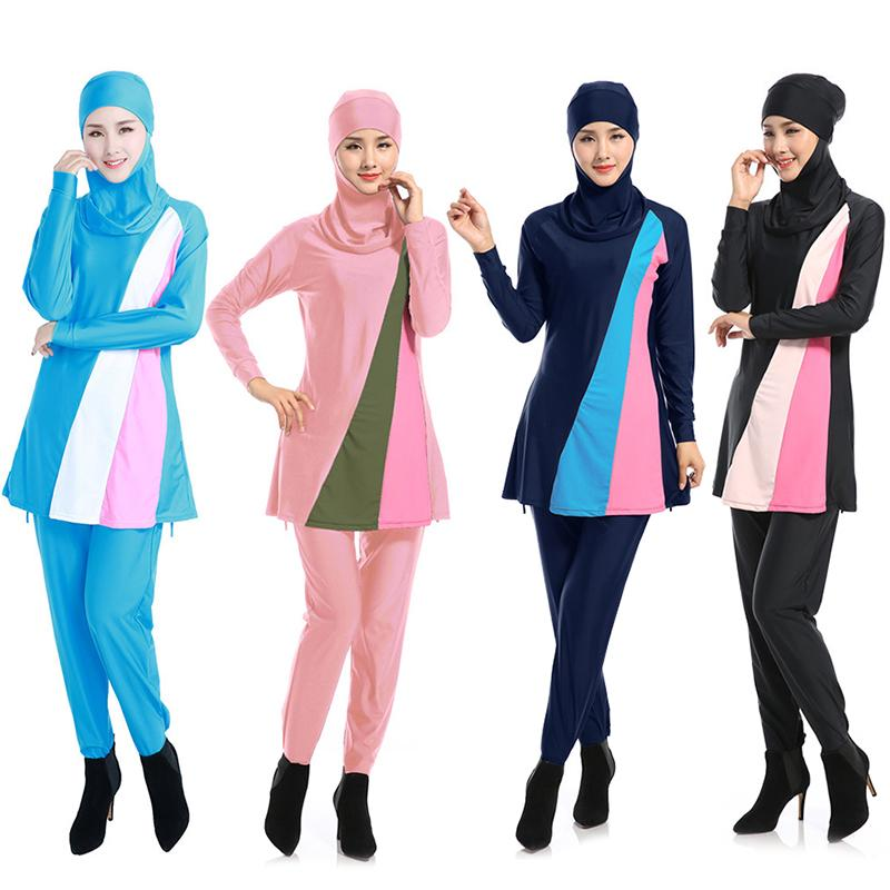 【24Hours TO SHIP】Muslim Swimsuit Women Conservative Beach Swimsuit Long Sleeve Top + Hat + Pants