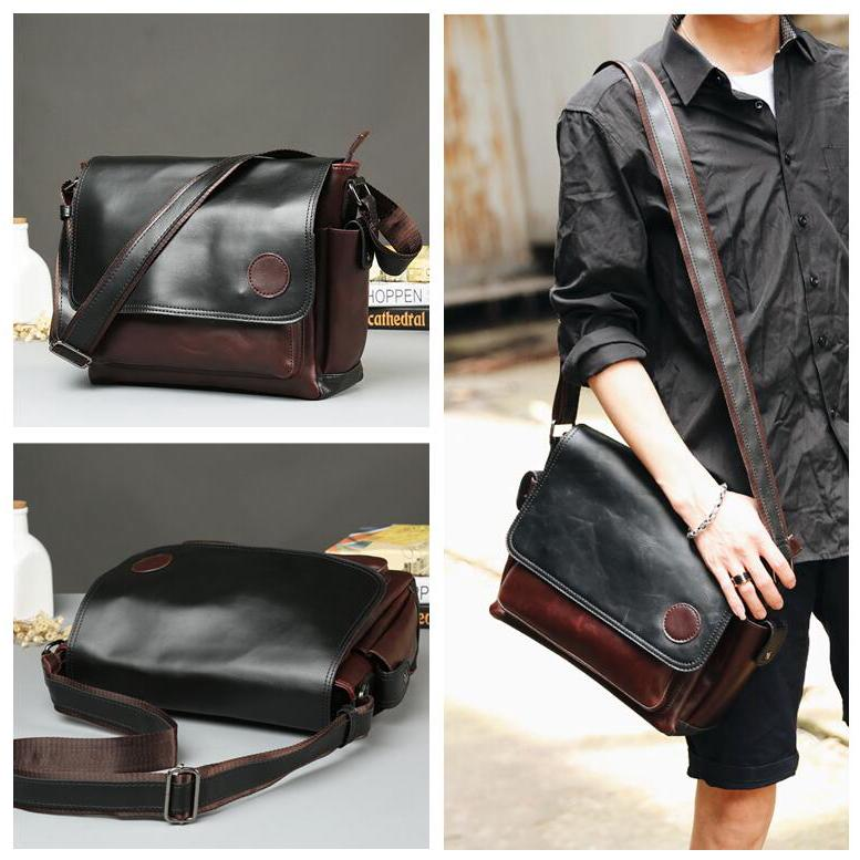 Ready Stock Man's Korean Fashion Superior Leather messenger Bag