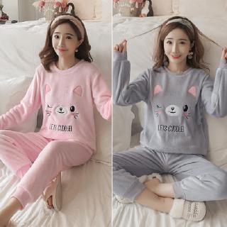 Autumn and winter flange velvet pajamas women long sleeve cute cat velvet M -XXL two-color gray powder