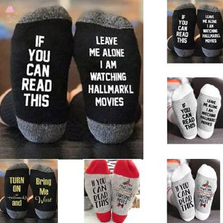 LC 1 Pair Soft Socks Christmas Letters Printed for Women Winter Warm Socks @MY