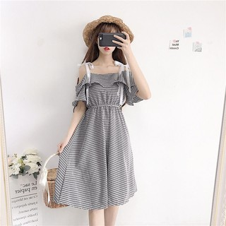 New women's clothing han edition small pure and fresh ruffled shoulder with a word in the skirt shoulder-straps dress s