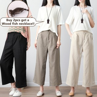【Ready Stock 】Real Linen Cotton   Loose Causal Wide Leg Pants Long Trousers Palazo Women