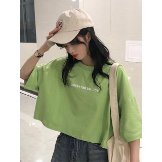 women's 2019 new fashionable tide matcha green tops female green design t-shirt