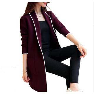 Elegant Women Cardigan Long Jacket Trench Coat Autumn Winter Wool Outerwear