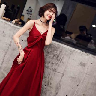 Toast clothing bride 2019 summer new red slim slimming wedding evening dress long section factory wholesale direct sales