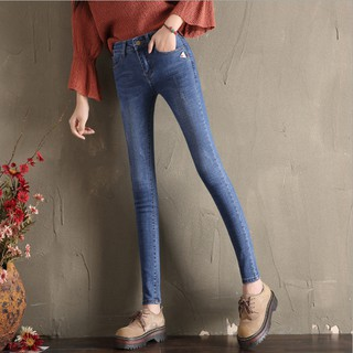2019 new mid-rise jeans women's long pants Korean version was thin feet pants pencil trousers